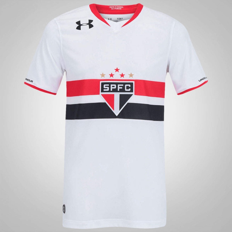 CAMISA OFICIAL UNDER ARMOUR HOME TORCEDOR AWAY SAO PAULO BCO-VERM 2016-1